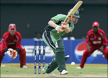 Eoin Morgan fends off a delivery
