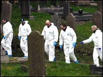 Forensics teams at St Fagan's Church