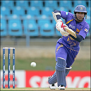 Kumar Sangakkara sends a shot towards the boundary