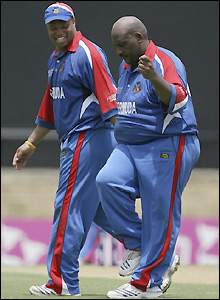 Dwayne Leverock does a dance of joy after claiming the wicket of Sangakkara