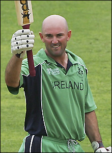 Bray salutes the crowd on completing his maiden ODI century