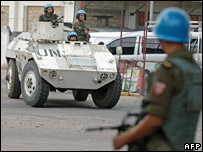 UN troops patrolling in Kinshasa on 15 March 2007