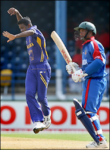 Maharoof celebrates the wicket of Cann