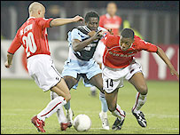 Newcastle striker Obafemi Martins (centre) struggled to get the better of the AZ Alkmaar defence