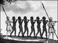 A slave chain gang, 1821