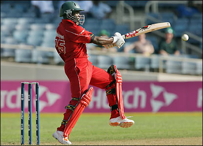 Stuart Matsikenyeri fends off a shot as he becomes the pick of Zimbabwe's batsmen