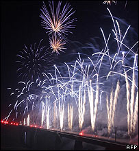 Fireworks at the inauguration of France's fastest rail line