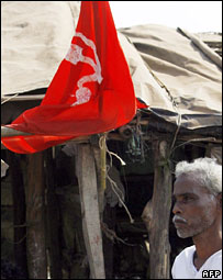 Communist party supporter with party flag in Nandigram