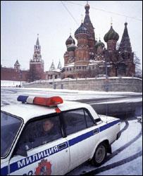 Милицейская машина у Красной площади в Москве
