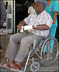 Zimbabwe opposition leader Morgan Tsvangirai leaving hospital