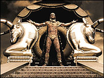 Portrayal of Xerxes in the film 300, courtesy of Warner Brothers