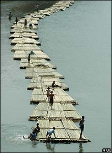 Bamboo rafts in India
