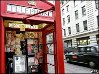 Prostitute's cards in a phone box