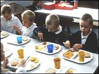 Children eating school meal