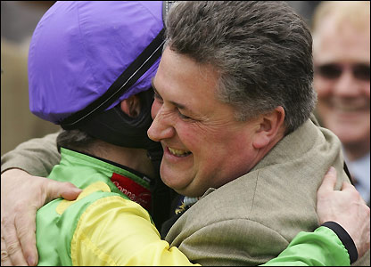 Paul Nicholls embraces Ruby Walsh