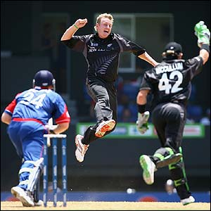 Scott Styris celebrates removing England's Jamie Dalrymple