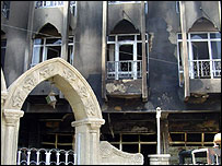 Damaged buildings in Baghdad four years after the invasion