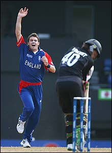 James Anderson celebrates dismissing New Zealand's Lou Vincent