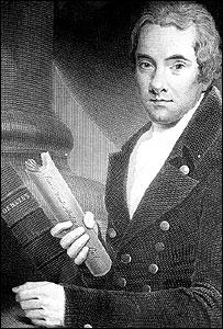 William Wilberforce, con una copia del proyecto de ley para abolir el comercio de esclavos, cerca de 1810