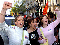 Students shout slogans during a demonstration in Bordeaux in April 2006 against the First Job Contract law, known as CPE law