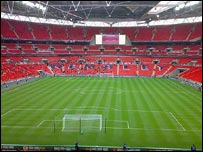 Interior of Wembley Stadium on visitors' day