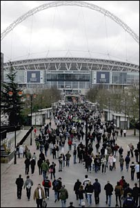 Crowds make their trip along the new Wembley Way