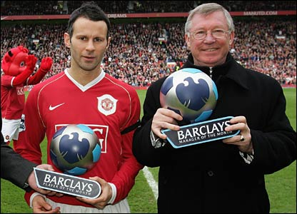 Ryan Giggs and Alex Ferguson are presented with their awards before kick-off