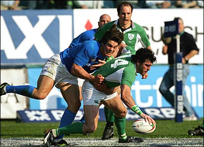 Ireland's Shane Horgan scores his side's fifth try of the game