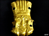 A golden trinket, part of the collection of treasures returned to Afghanistan