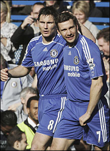 Frank Lampard congratulates Andriy Shevchenko on his opener for Chelsea