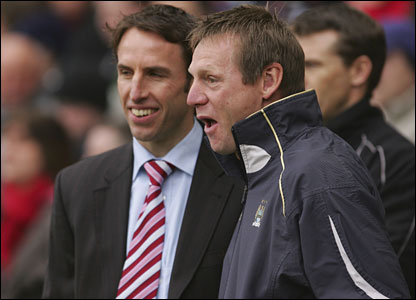 Boro boss Gareth Southgate shares a word with Stuart Pearce
