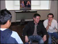 Students from Villiers High School in London interview CBBC's Dick and Dom.