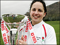 England captain Sue Day holds the Six Nations trophy