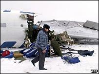 Обломки самолета, потерпевшего аварию в Самаре