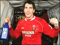 Fly-half James Hook celebrates Wales' victory over England