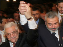 Mahmoud Abbas (L) and Ismail Haniya
