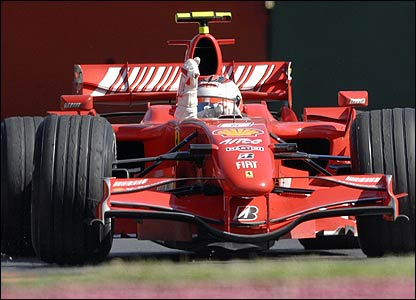 Kimi Raikkonen in his Ferrari after winning the Australian Grand Prix