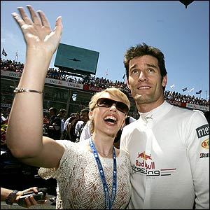 Kylie Minogue and Red Bull driver Mark Webber