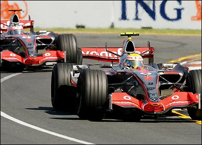 Lewis Hamilton leads Fernando Alonso during the Australian Grand Prix