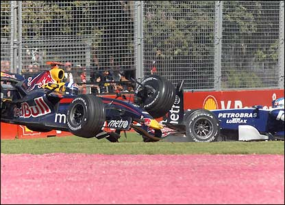 David Coulthard's Red Bull crashes out of the Australian Grand Prix