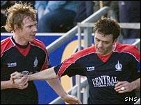 Patrick Cregg congratulates goalscorer Steven Thomson