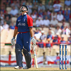 Michael Vaughan shows his frustration after his dismissal