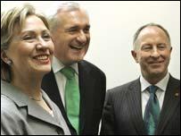 Dermot Ahern with Hillary Clinton and Bertie Ahern in Washington