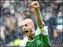 Rob Jones celebrates after putting Hibs in front at Hampden