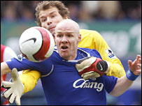 Arsenal's Jens Lehmann and Everton's Andy Johnson