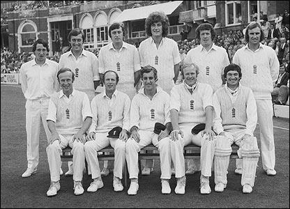 Bob Woolmer (second from the left, back row) with the England team pictured at the Oval in 1977