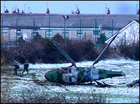 Crashed helicopter (Picture courtesy The Examiner newspaper)