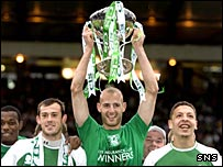 Steven Fletcher, Rob Jones and Abdessalam Benjelloun with the CIS Cup