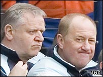 Jim Jefferies and assistant Billy Brown at Hampden