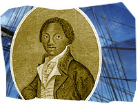 Abolitionist Olaudah Equiano and ship's rigging